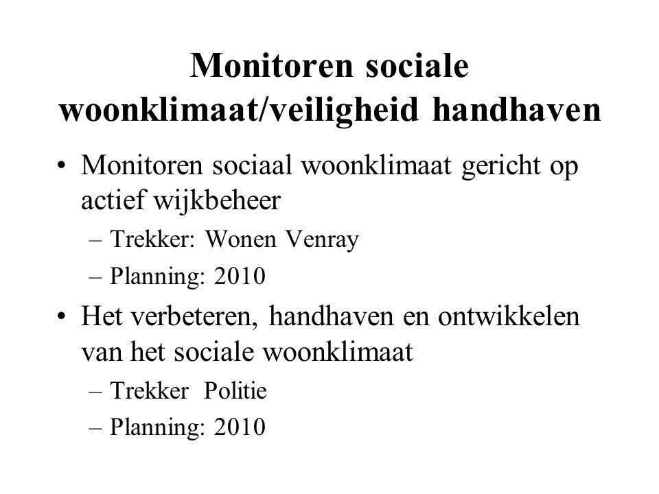 Monitoren sociale woonklimaat/veiligheid handhaven Monitoren sociaal woonklimaat gericht op actief wijkbeheer –Trekker: Wonen Venray –Planning: 2010 H