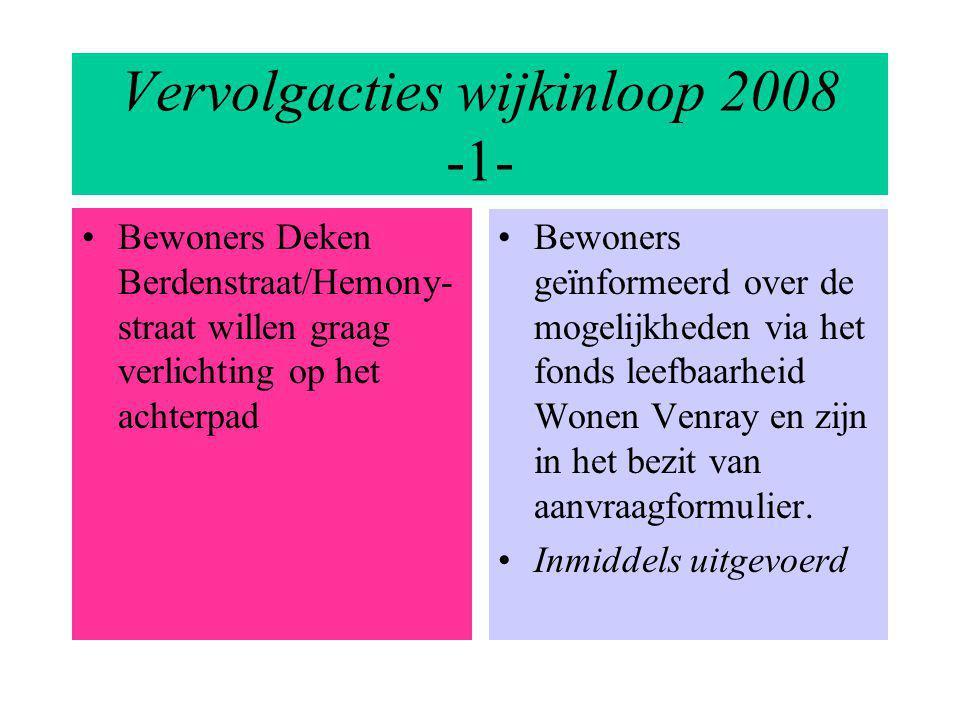 Vervolgacties wijkinloop 2008 -1- Bewoners Deken Berdenstraat/Hemony- straat willen graag verlichting op het achterpad Bewoners geïnformeerd over de m