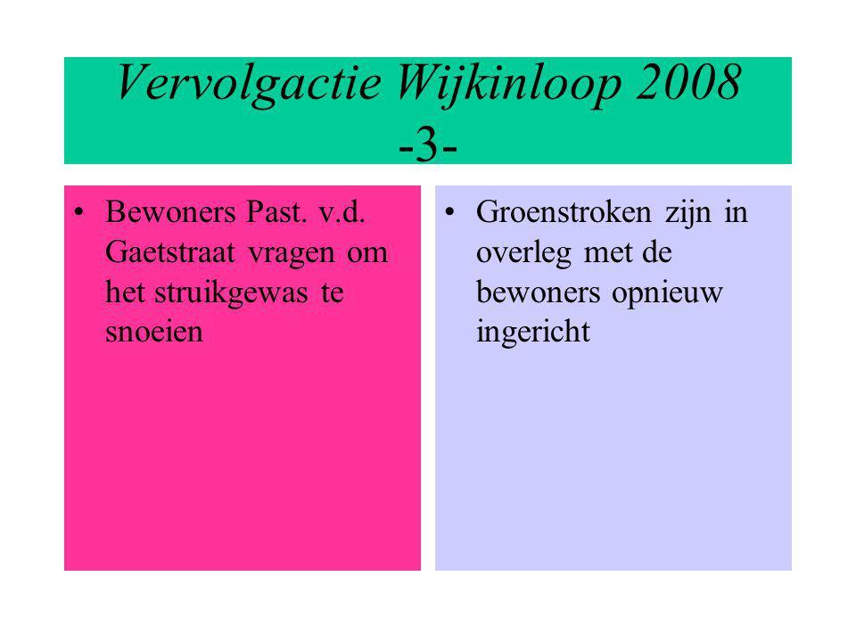 Vervolgactie Wijkinloop 2008 -3- Bewoners Past. v.d. Gaetstraat vragen om het struikgewas te snoeien Groenstroken zijn in overleg met de bewoners opni