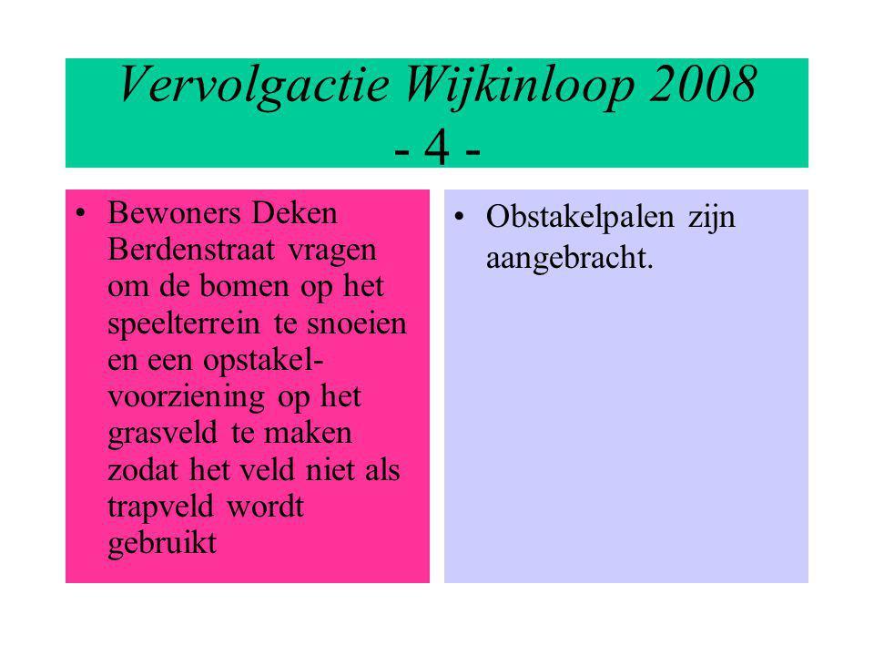 Vervolgactie Wijkinloop 2008 - 4 - Bewoners Deken Berdenstraat vragen om de bomen op het speelterrein te snoeien en een opstakel- voorziening op het grasveld te maken zodat het veld niet als trapveld wordt gebruikt Obstakelpalen zijn aangebracht.