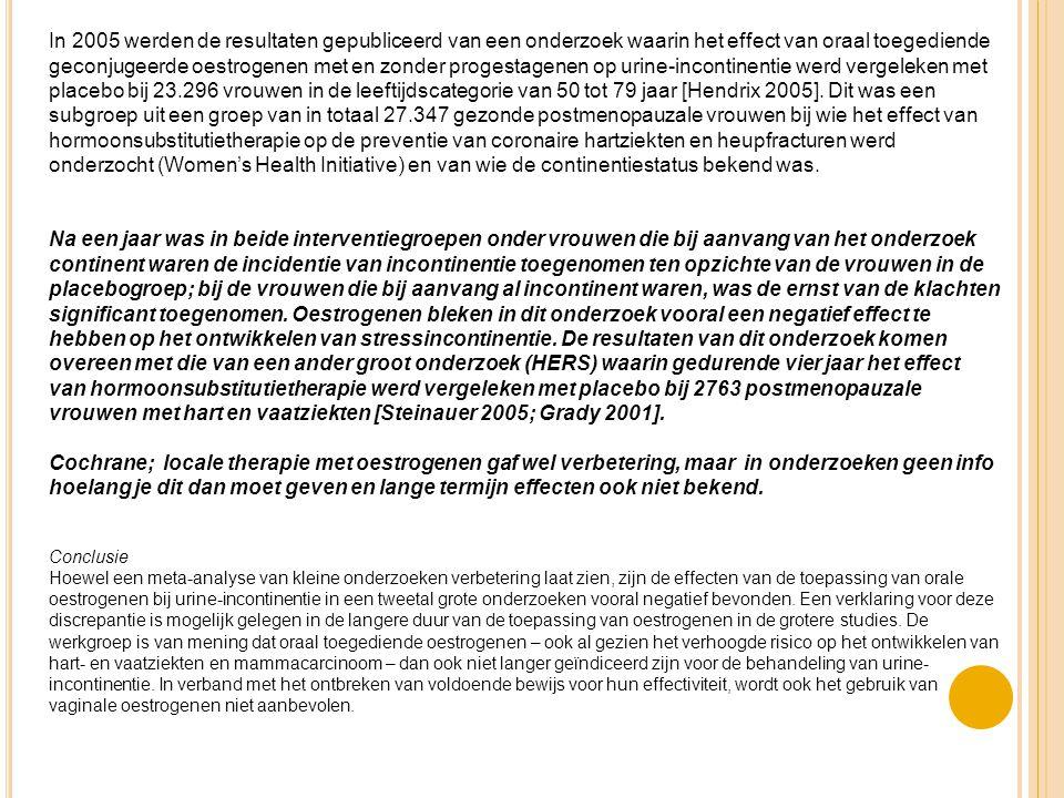 In 2005 werden de resultaten gepubliceerd van een onderzoek waarin het effect van oraal toegediende geconjugeerde oestrogenen met en zonder progestage