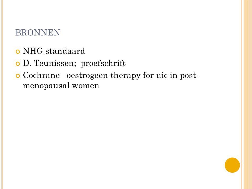 BRONNEN NHG standaard D. Teunissen; proefschrift Cochrane oestrogeen therapy for uic in post- menopausal women