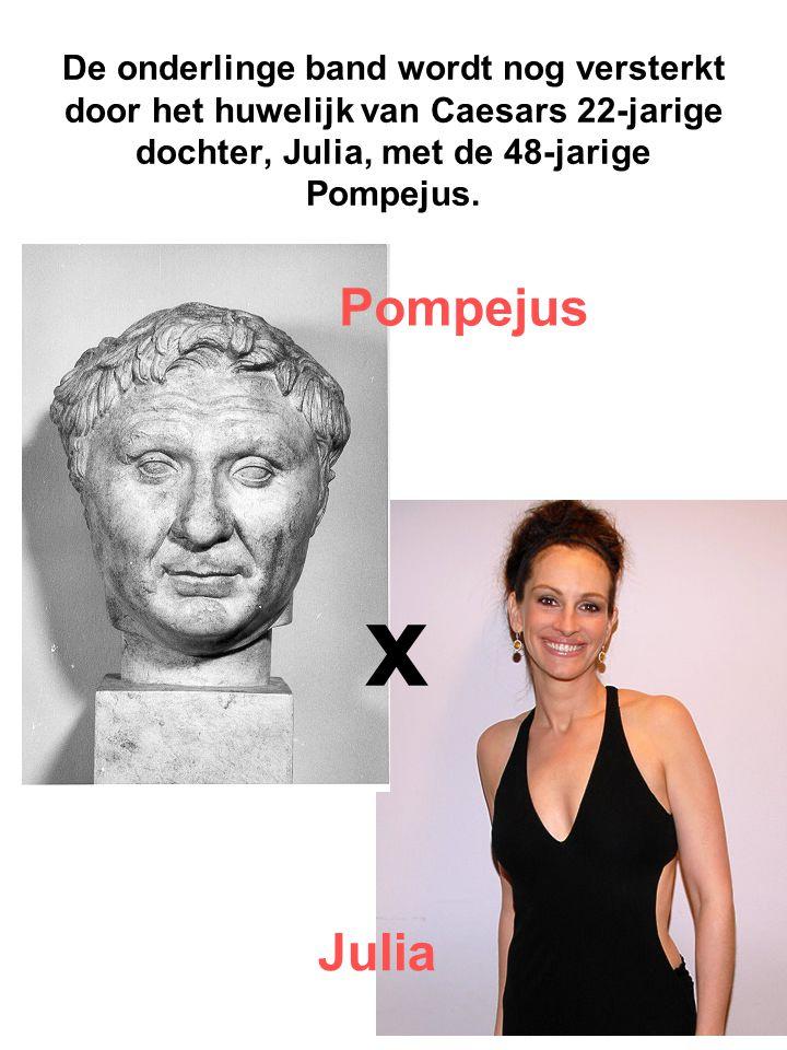 De onderlinge band wordt nog versterkt door het huwelijk van Caesars 22-jarige dochter, Julia, met de 48-jarige Pompejus. x Pompejus Julia