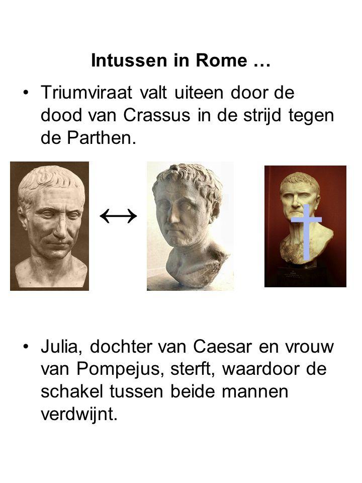Intussen in Rome … Triumviraat valt uiteen door de dood van Crassus in de strijd tegen de Parthen. Julia, dochter van Caesar en vrouw van Pompejus, st