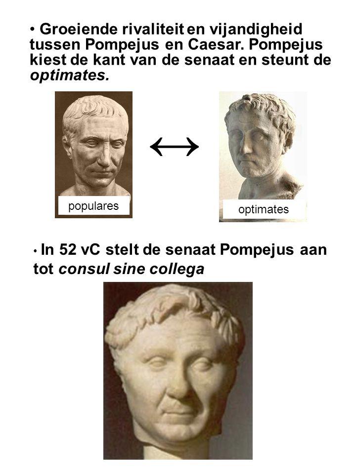 Groeiende rivaliteit en vijandigheid tussen Pompejus en Caesar. Pompejus kiest de kant van de senaat en steunt de optimates. populares optimates ↔ In