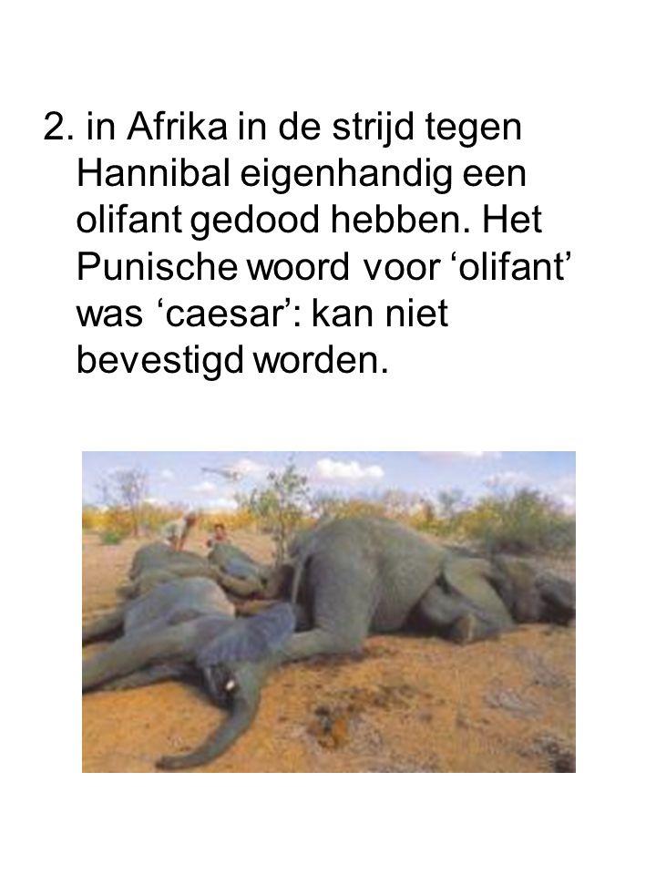 2. in Afrika in de strijd tegen Hannibal eigenhandig een olifant gedood hebben. Het Punische woord voor 'olifant' was 'caesar': kan niet bevestigd wor