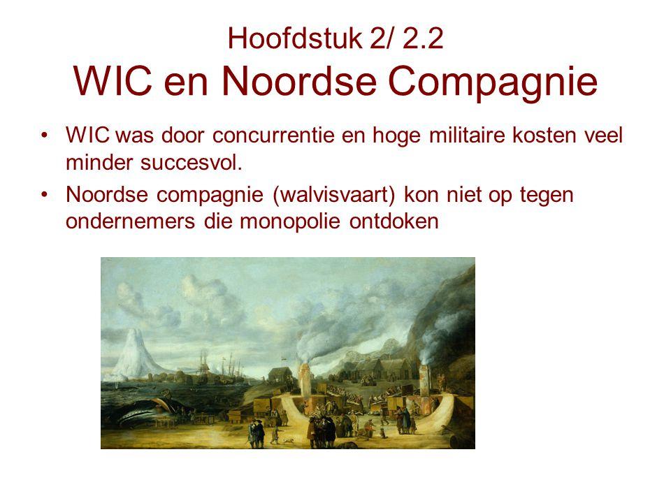 Hoofdstuk 2/ 2.2 WIC en Noordse Compagnie WIC was door concurrentie en hoge militaire kosten veel minder succesvol. Noordse compagnie (walvisvaart) ko