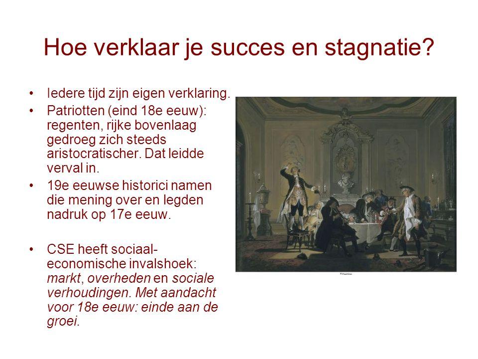 Hoe verklaar je succes en stagnatie? Iedere tijd zijn eigen verklaring. Patriotten (eind 18e eeuw): regenten, rijke bovenlaag gedroeg zich steeds aris
