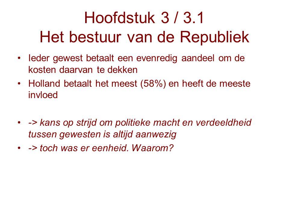 Hoofdstuk 3 / 3.1 Het bestuur van de Republiek Ieder gewest betaalt een evenredig aandeel om de kosten daarvan te dekken Holland betaalt het meest (58
