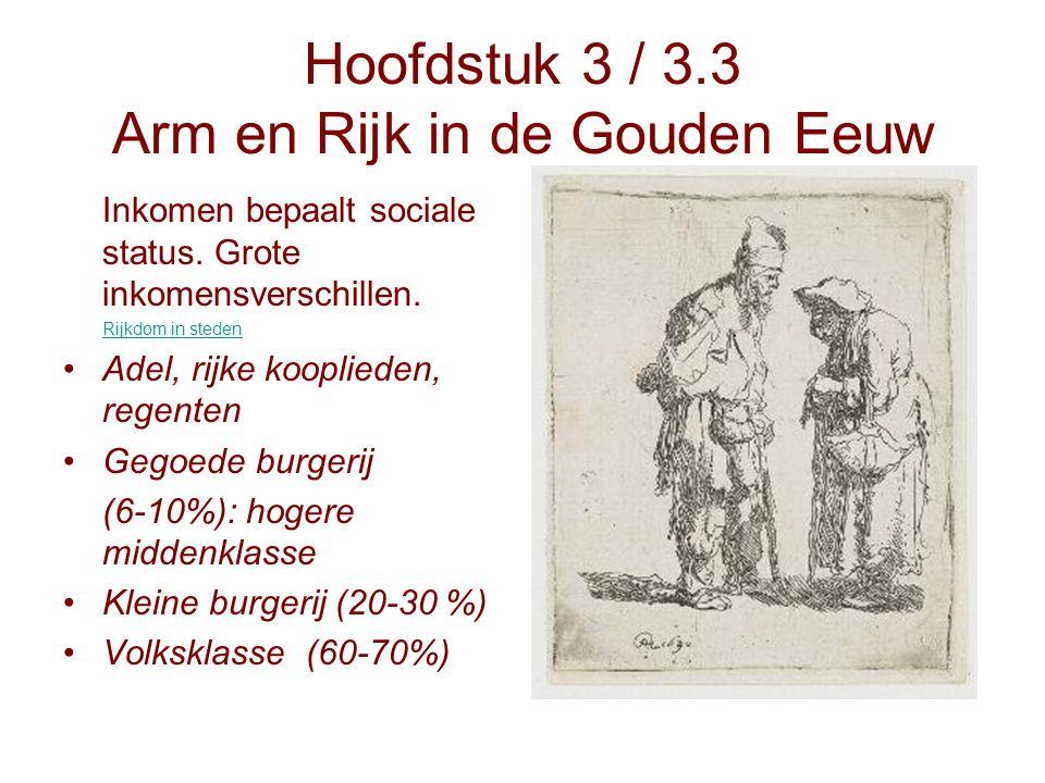 Hoofdstuk 3 / 3.3 Arm en Rijk in de Gouden Eeuw Inkomen bepaalt sociale status. Grote inkomensverschillen. Rijkdom in steden Adel, rijke kooplieden, r