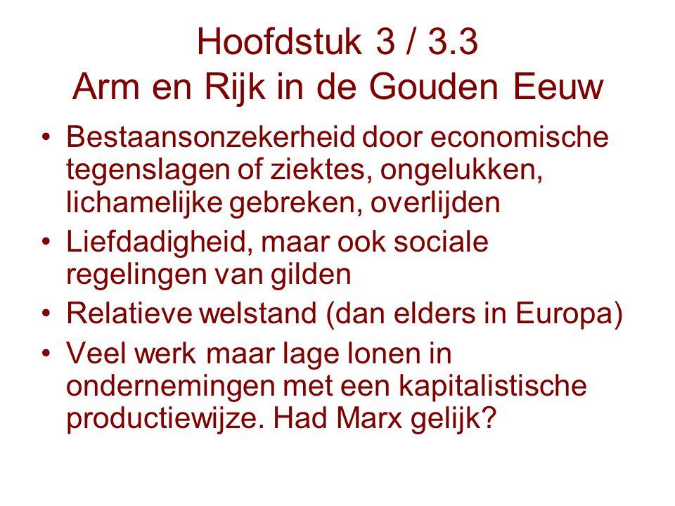 Hoofdstuk 3 / 3.3 Arm en Rijk in de Gouden Eeuw Bestaansonzekerheid door economische tegenslagen of ziektes, ongelukken, lichamelijke gebreken, overli
