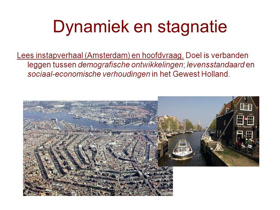 Dynamiek en stagnatie Lees instapverhaal (Amsterdam) en hoofdvraag. Doel is verbanden leggen tussen demografische ontwikkelingen; levensstandaard en s