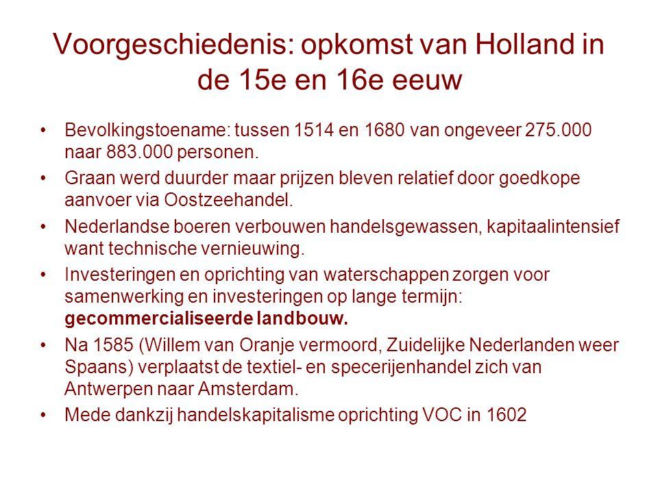 Voorgeschiedenis: opkomst van Holland in de 15e en 16e eeuw Bevolkingstoename: tussen 1514 en 1680 van ongeveer 275.000 naar 883.000 personen. Graan w
