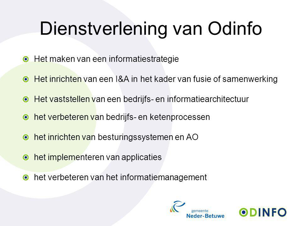 Dienstverlening van Odinfo Het maken van een informatiestrategie Het inrichten van een I&A in het kader van fusie of samenwerking Het vaststellen van