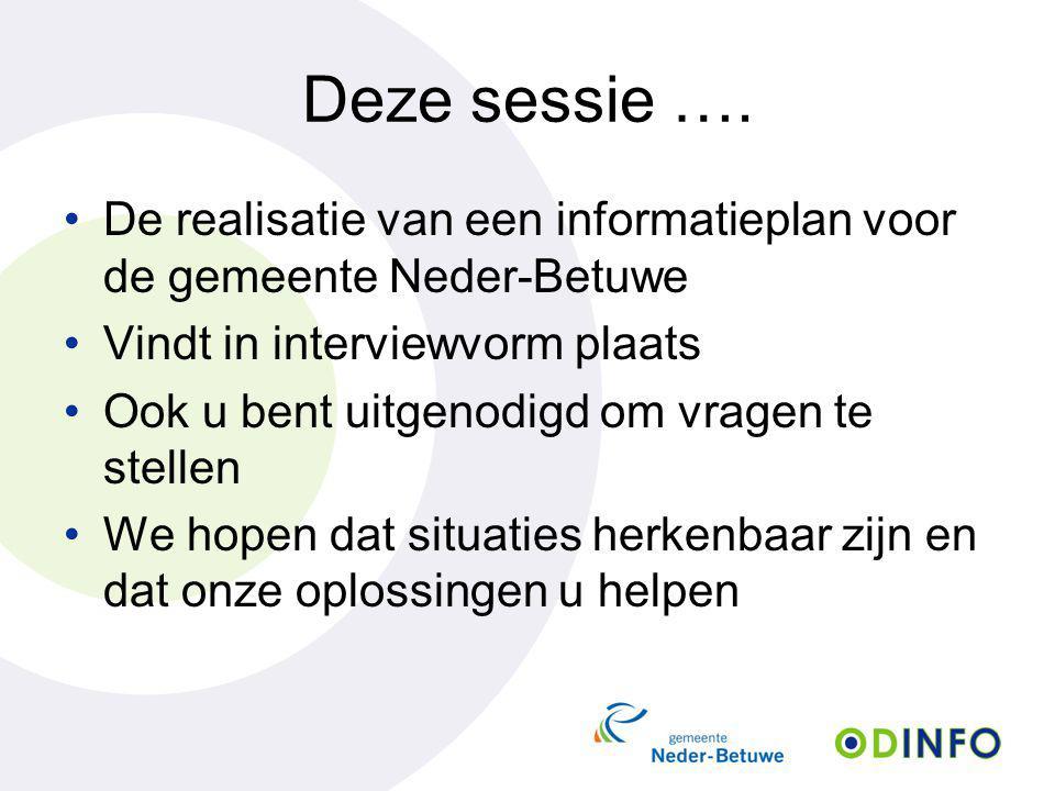 Deze sessie …. De realisatie van een informatieplan voor de gemeente Neder-Betuwe Vindt in interviewvorm plaats Ook u bent uitgenodigd om vragen te st