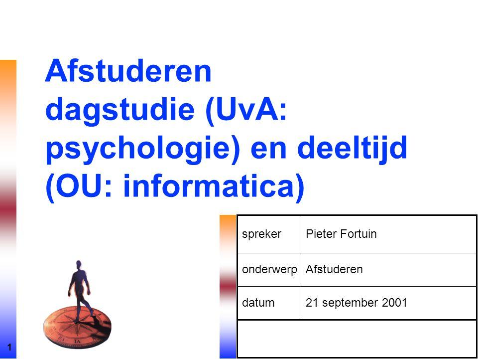 1 spreker onderwerp datum Pieter Fortuin Afstuderen 21 september 2001 Afstuderen dagstudie (UvA: psychologie) en deeltijd (OU: informatica)