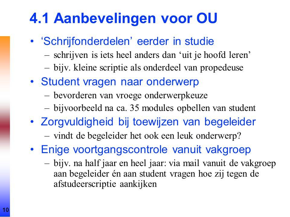 10 4.1 Aanbevelingen voor OU 'Schrijfonderdelen' eerder in studie –schrijven is iets heel anders dan 'uit je hoofd leren' –bijv. kleine scriptie als o