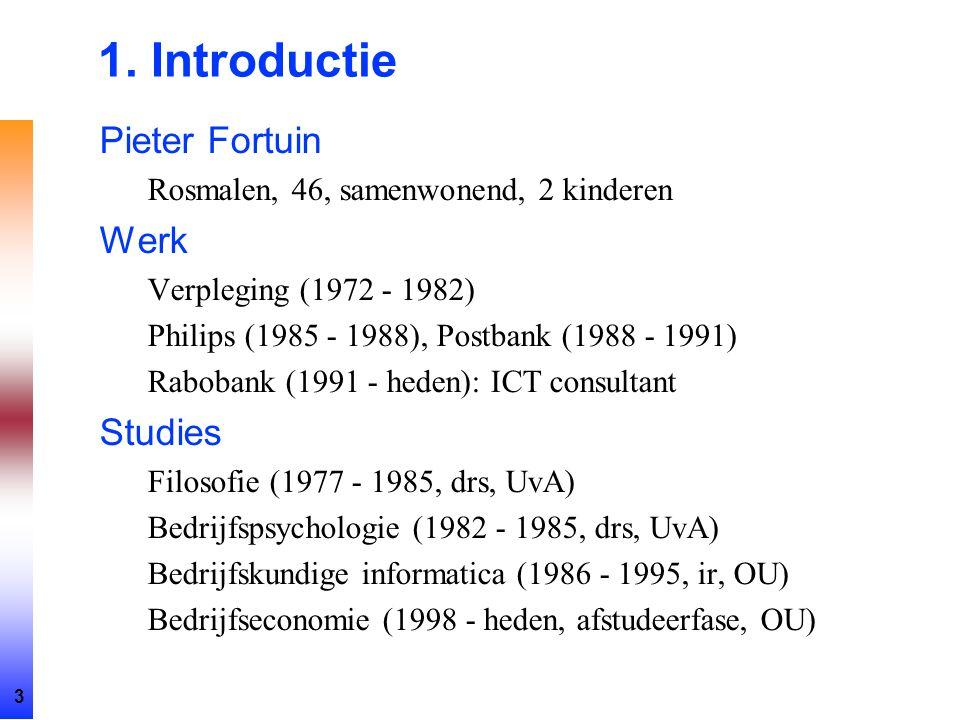3 1. Introductie Pieter Fortuin Rosmalen, 46, samenwonend, 2 kinderen Werk Verpleging (1972 - 1982) Philips (1985 - 1988), Postbank (1988 - 1991) Rabo