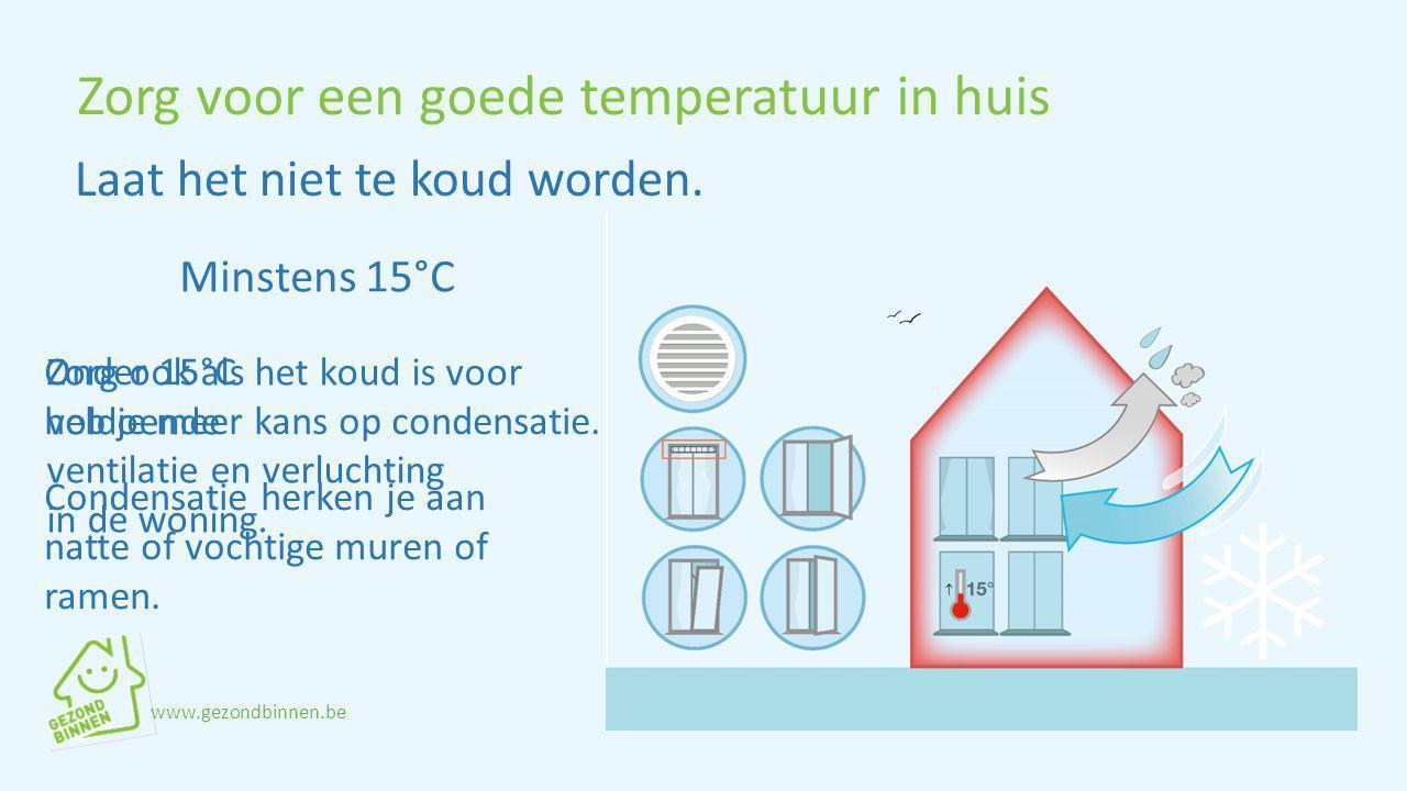 Zorg voor een goede temperatuur in huis Minstens 15°C Onder 15°C heb je meer kans op condensatie. Laat het niet te koud worden. Condensatie herken je