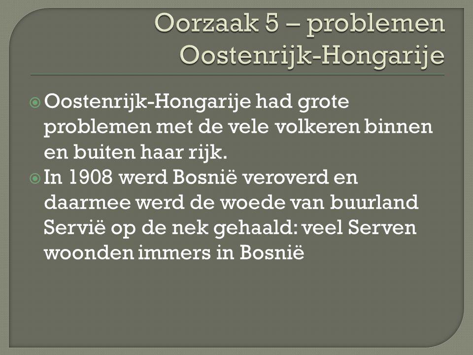  Oostenrijk-Hongarije had grote problemen met de vele volkeren binnen en buiten haar rijk.  In 1908 werd Bosnië veroverd en daarmee werd de woede va