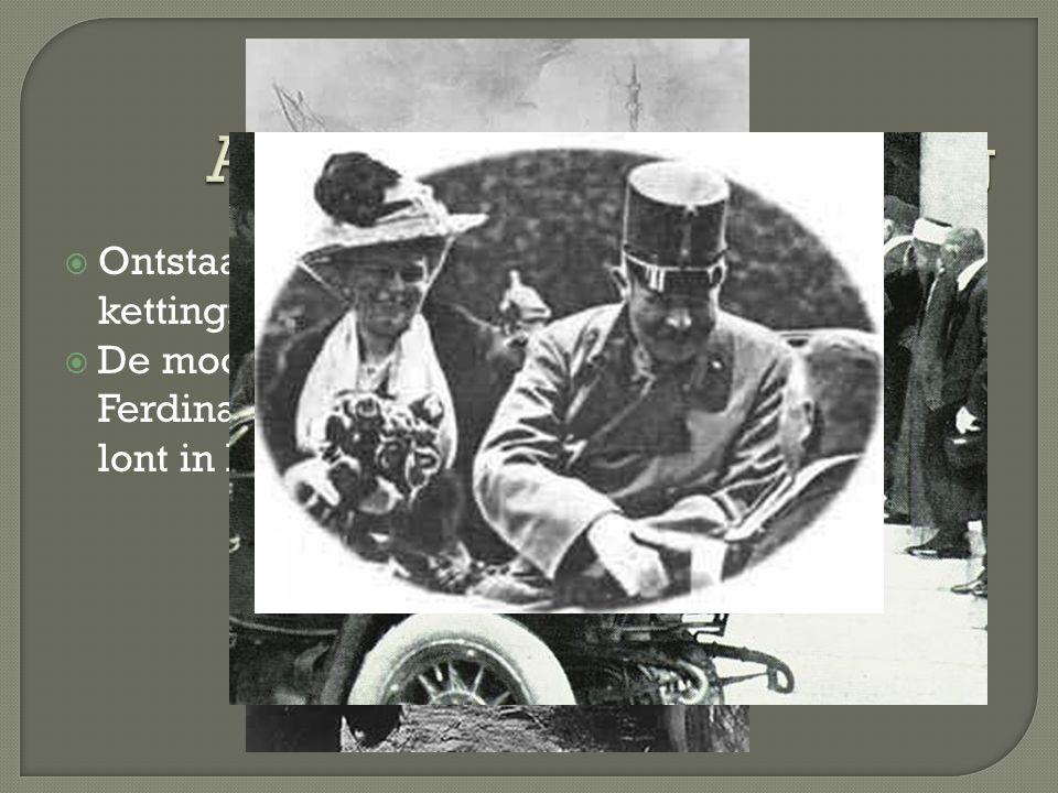  Ontstaan als kettingreactie.  De moord op Franz Ferdinand was de lont in het kruidvat.