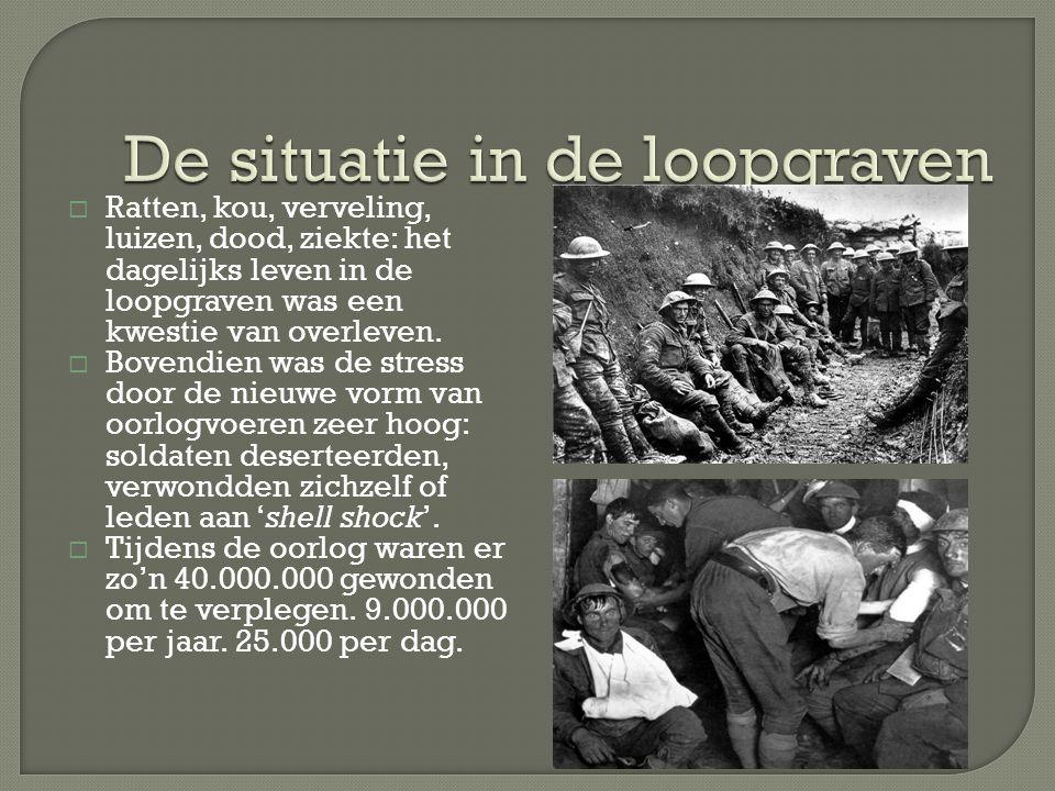  Ratten, kou, verveling, luizen, dood, ziekte: het dagelijks leven in de loopgraven was een kwestie van overleven.  Bovendien was de stress door de