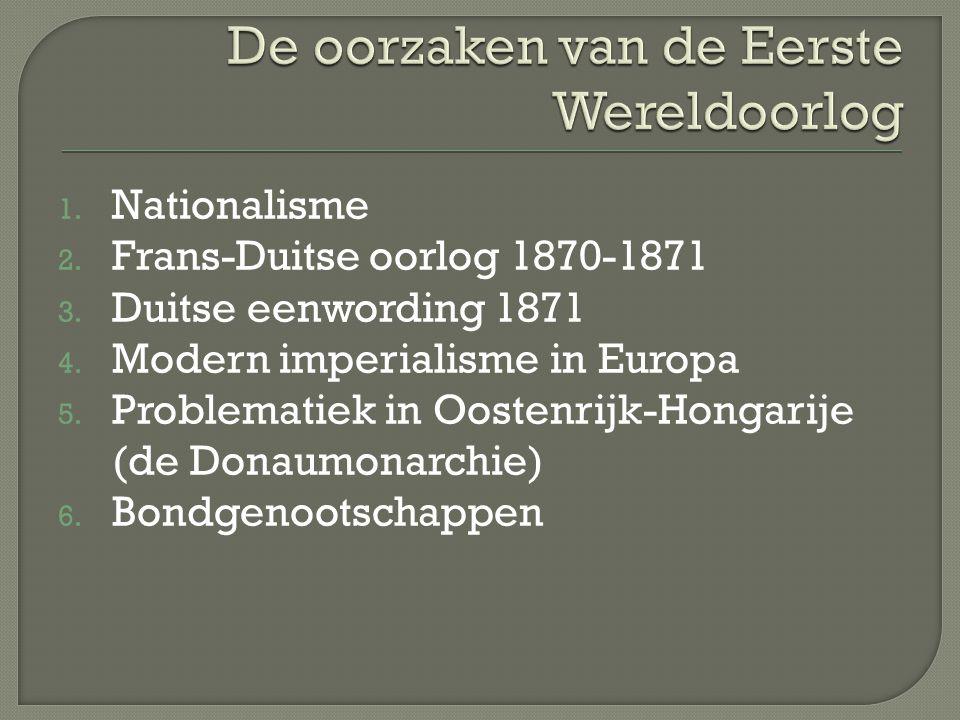 1. Nationalisme 2. Frans-Duitse oorlog 1870-1871 3. Duitse eenwording 1871 4. Modern imperialisme in Europa 5. Problematiek in Oostenrijk-Hongarije (d