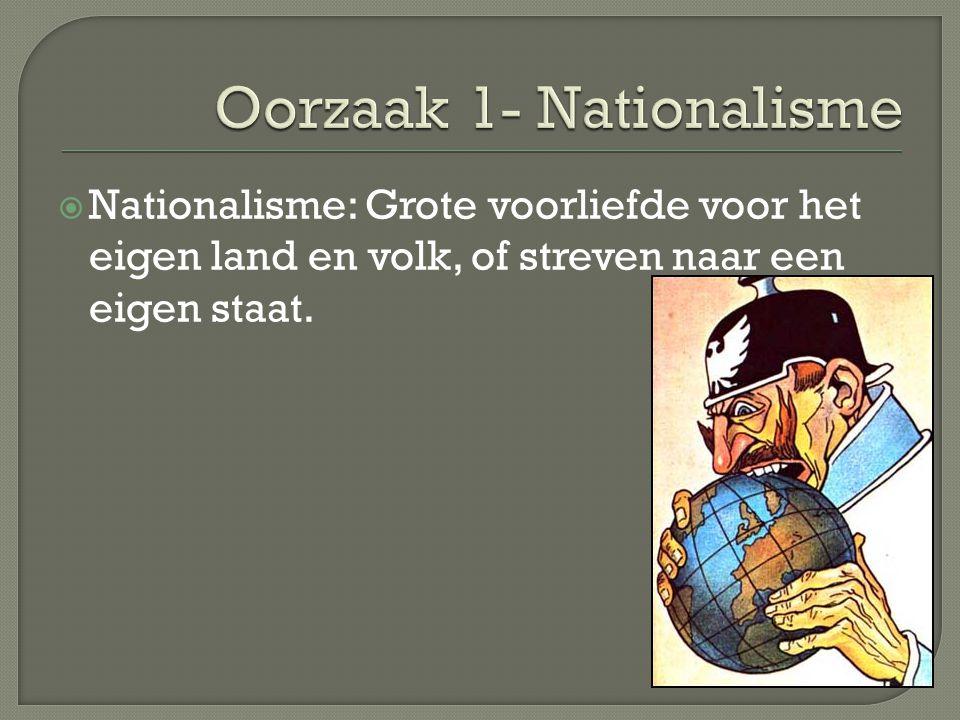  Nationalisme: Grote voorliefde voor het eigen land en volk, of streven naar een eigen staat.