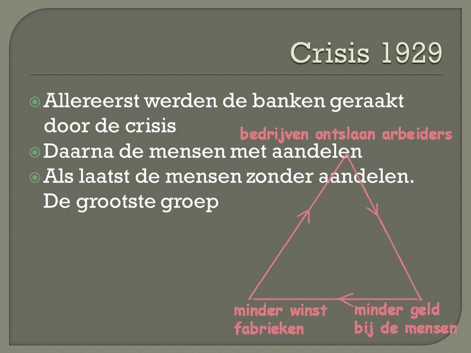  Allereerst werden de banken geraakt door de crisis  Daarna de mensen met aandelen  Als laatst de mensen zonder aandelen. De grootste groep