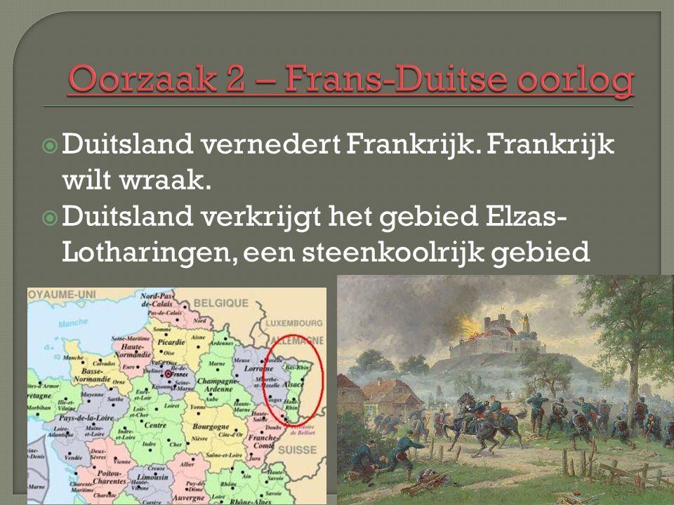  Duitsland vernedert Frankrijk. Frankrijk wilt wraak.  Duitsland verkrijgt het gebied Elzas- Lotharingen, een steenkoolrijk gebied
