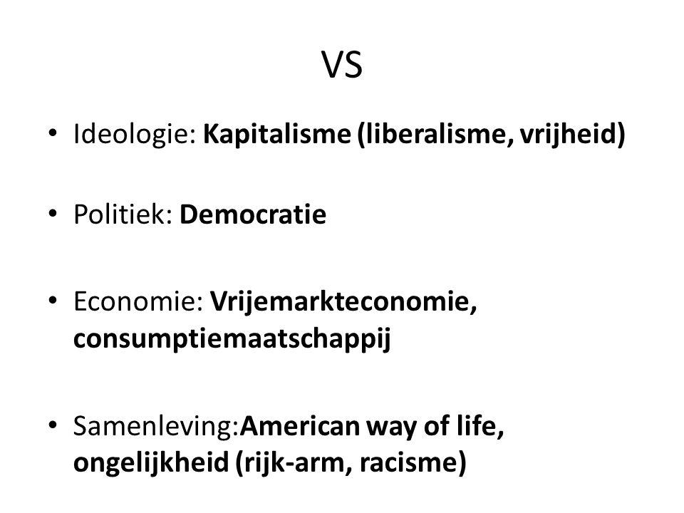 VS Ideologie: Kapitalisme (liberalisme, vrijheid) Politiek: Democratie Economie: Vrijemarkteconomie, consumptiemaatschappij Samenleving:American way of life, ongelijkheid (rijk-arm, racisme)
