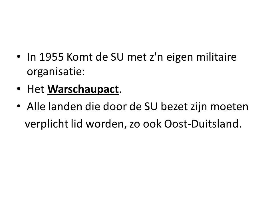In 1955 Komt de SU met z n eigen militaire organisatie: Het Warschaupact.
