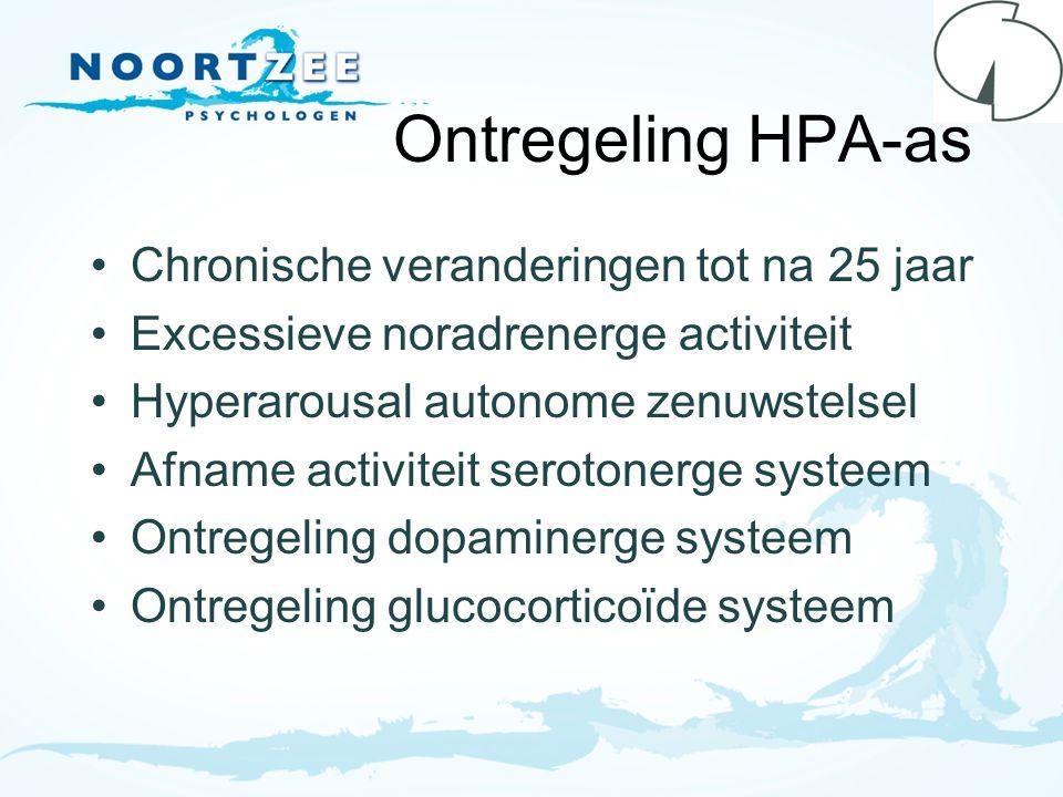 Ontregeling HPA-as Chronische veranderingen tot na 25 jaar Excessieve noradrenerge activiteit Hyperarousal autonome zenuwstelsel Afname activiteit ser