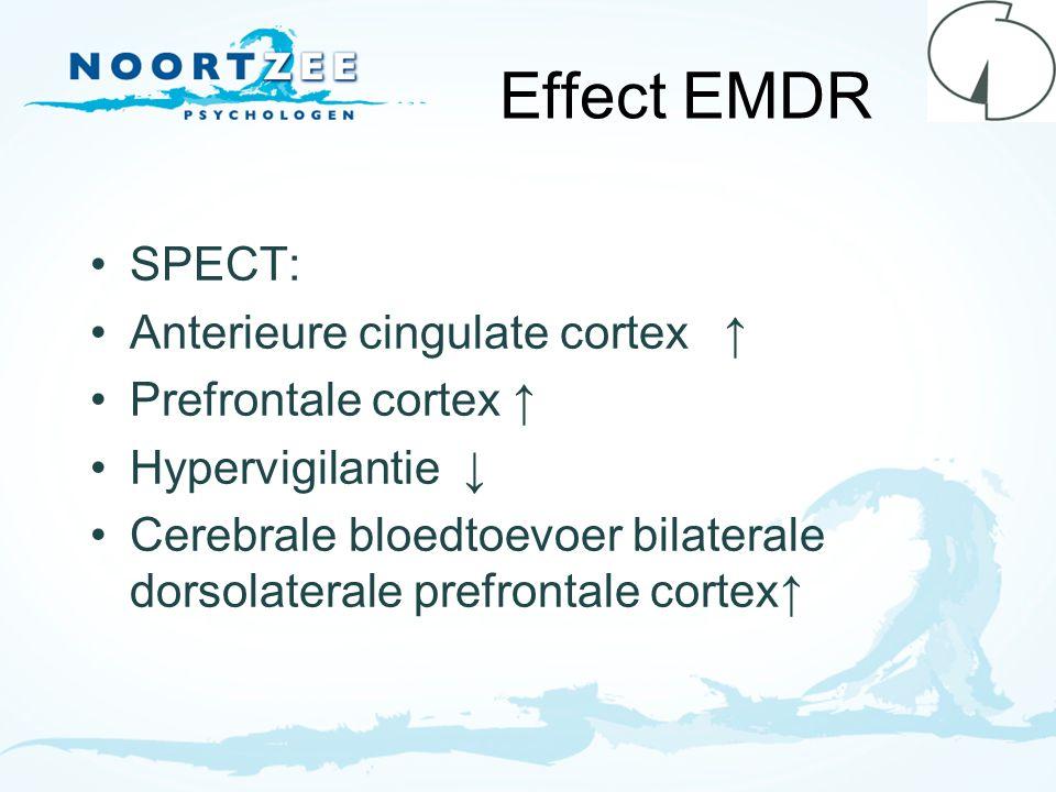 Effect EMDR SPECT: Anterieure cingulate cortex ↑ Prefrontale cortex ↑ Hypervigilantie ↓ Cerebrale bloedtoevoer bilaterale dorsolaterale prefrontale co