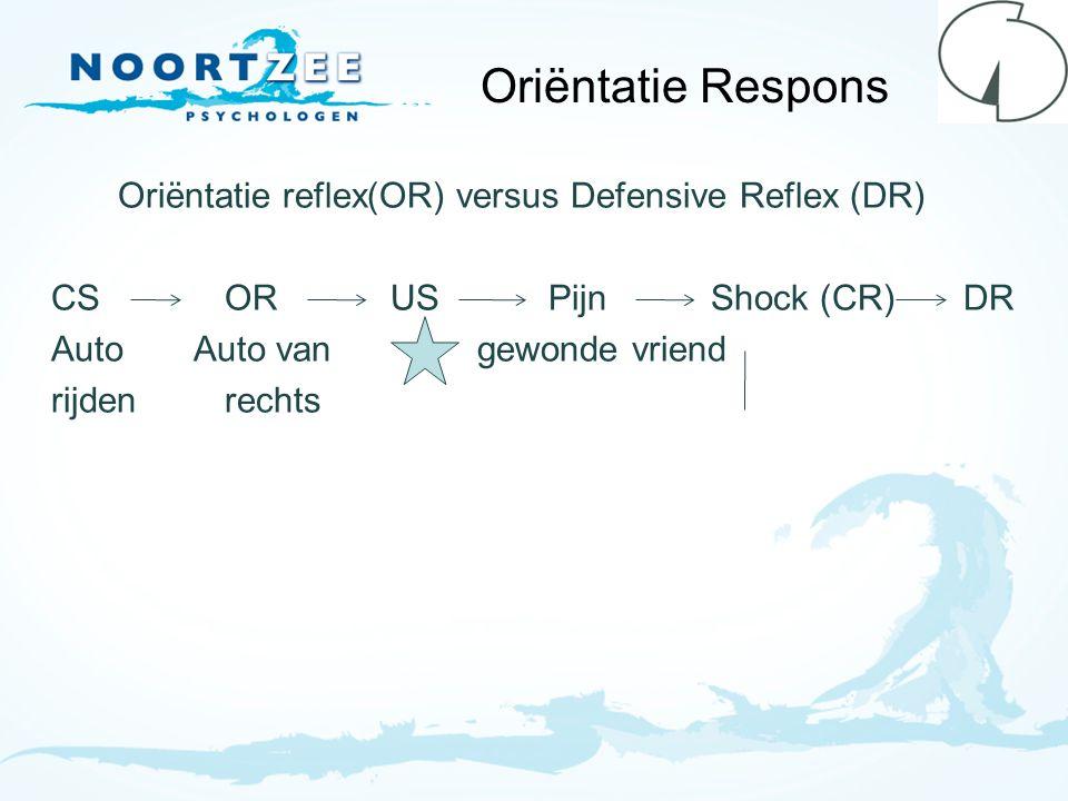 Oriëntatie Respons Oriëntatie reflex(OR) versus Defensive Reflex (DR) CSOR US Pijn Shock (CR) DR Auto Auto van gewonde vriend rijdenrechts