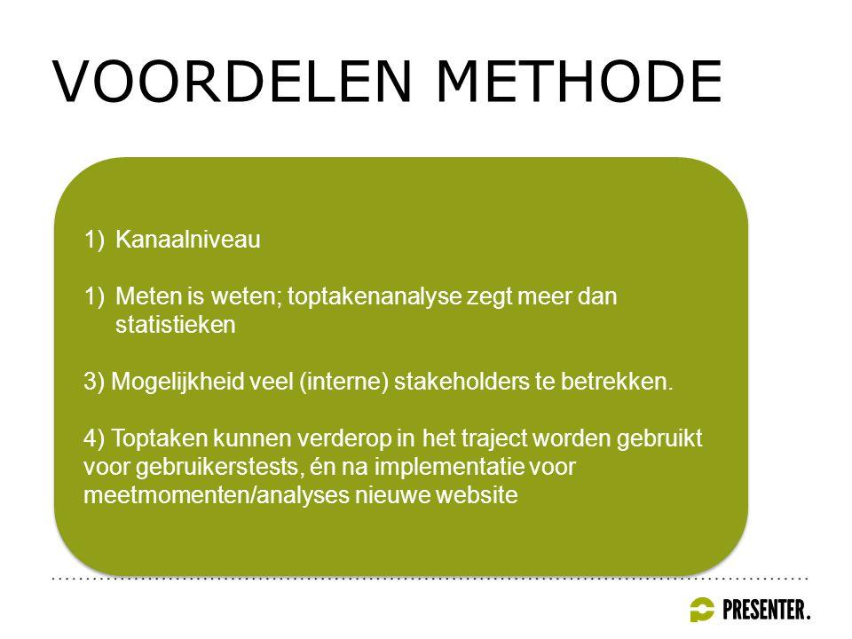 VOORDELEN METHODE 1)Kanaalniveau 1)Meten is weten; toptakenanalyse zegt meer dan statistieken 3) Mogelijkheid veel (interne) stakeholders te betrekken.