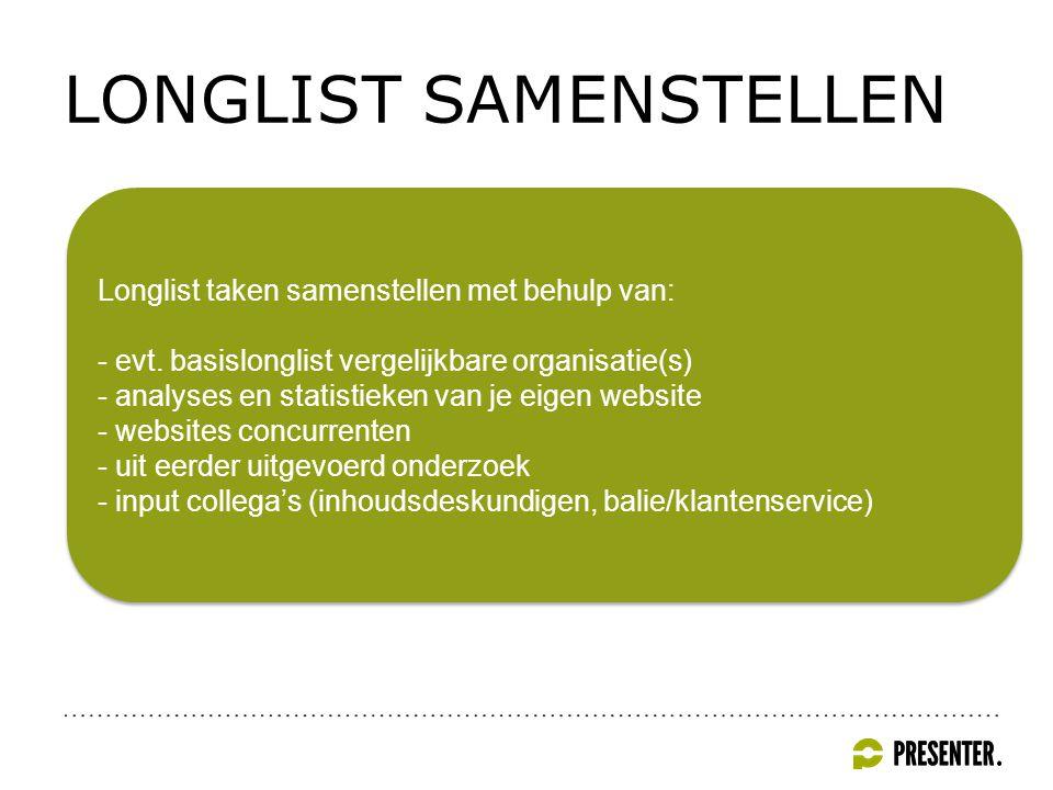 LONGLIST SAMENSTELLEN Longlist taken samenstellen met behulp van: - evt.