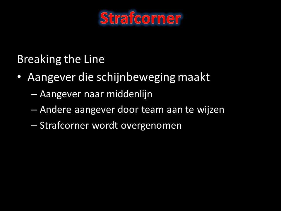Breaking the Line Aangever die schijnbeweging maakt – Aangever naar middenlijn – Andere aangever door team aan te wijzen – Strafcorner wordt overgenomen