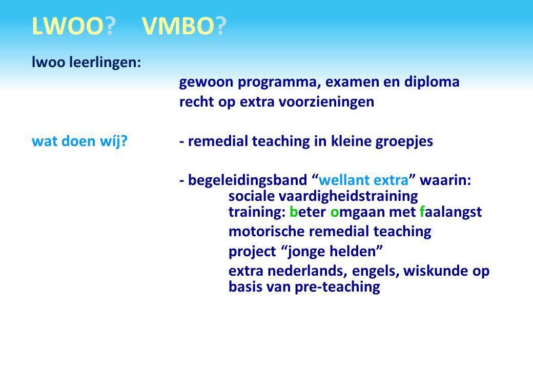 LWOO? VMBO? lwoo leerlingen: gewoon programma, examen en diploma recht op extra voorzieningen wat doen wíj?- remedial teaching in kleine groepjes - be