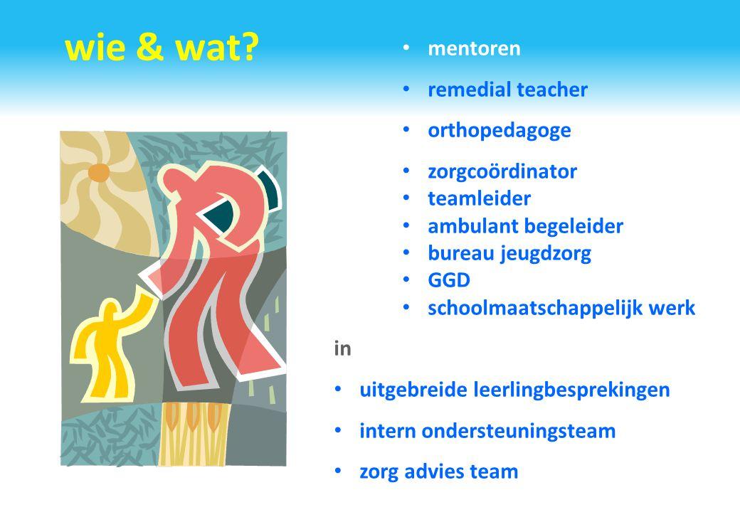 wie & wat? mentoren remedial teacher orthopedagoge zorgcoördinator teamleider ambulant begeleider bureau jeugdzorg GGD schoolmaatschappelijk werk in u