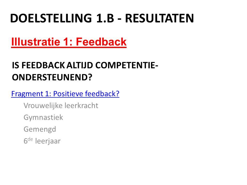 Illustratie 1: Feedback DOELSTELLING 1.B - RESULTATEN IS FEEDBACK ALTIJD COMPETENTIE- ONDERSTEUNEND? Fragment 1: Positieve feedback? Vrouwelijke leerk