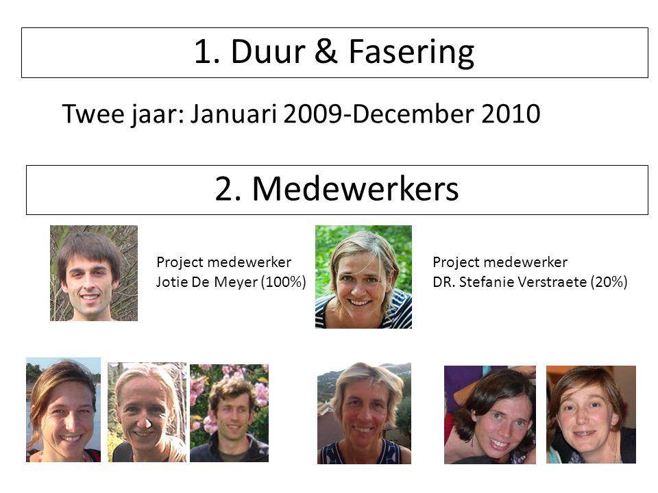 Project medewerker Jotie De Meyer (100%) Project medewerker DR. Stefanie Verstraete (20%) 1. Duur & Fasering Twee jaar: Januari 2009-December 2010 2.