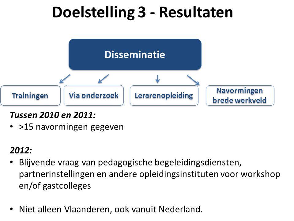 Lerarenopleiding Via onderzoek Disseminatie Navormingen brede werkveld Trainingen Tussen 2010 en 2011: >15 navormingen gegeven 2012: Blijvende vraag v