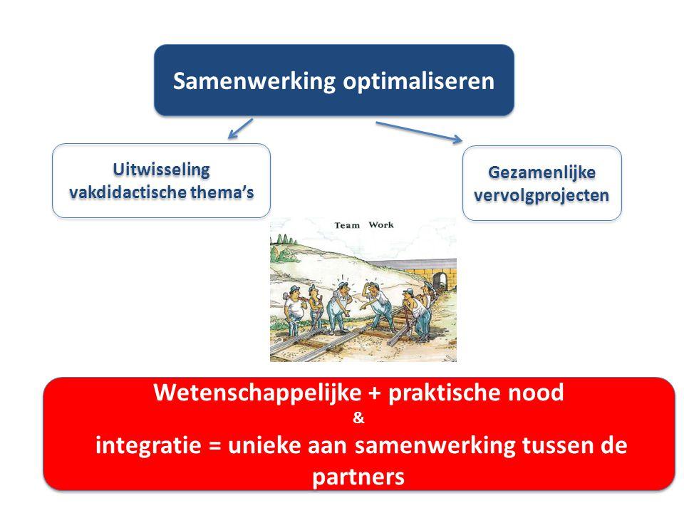 Samenwerking optimaliseren Uitwisseling vakdidactische thema's Gezamenlijke vervolgprojecten Wetenschappelijke + praktische nood & integratie = unieke