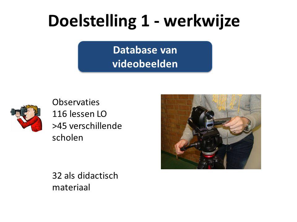 Database van videobeelden Observaties 116 lessen LO >45 verschillende scholen 32 als didactisch materiaal Doelstelling 1 - werkwijze