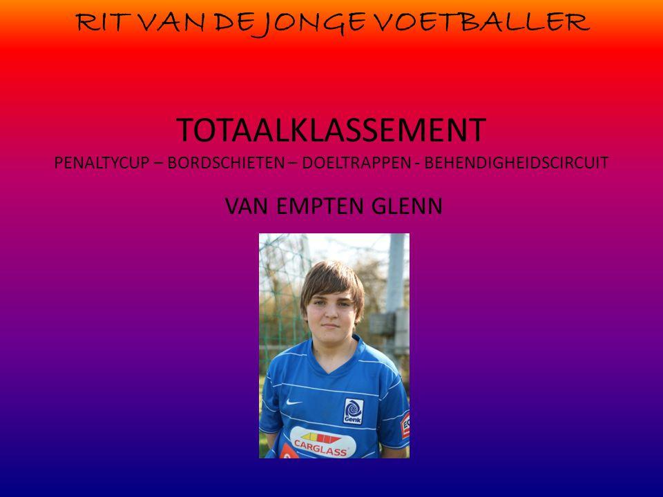 RIT VAN DE JONGE VOETBALLER TOTAALKLASSEMENT PENALTYCUP – BORDSCHIETEN – DOELTRAPPEN - BEHENDIGHEIDSCIRCUIT VAN EMPTEN GLENN