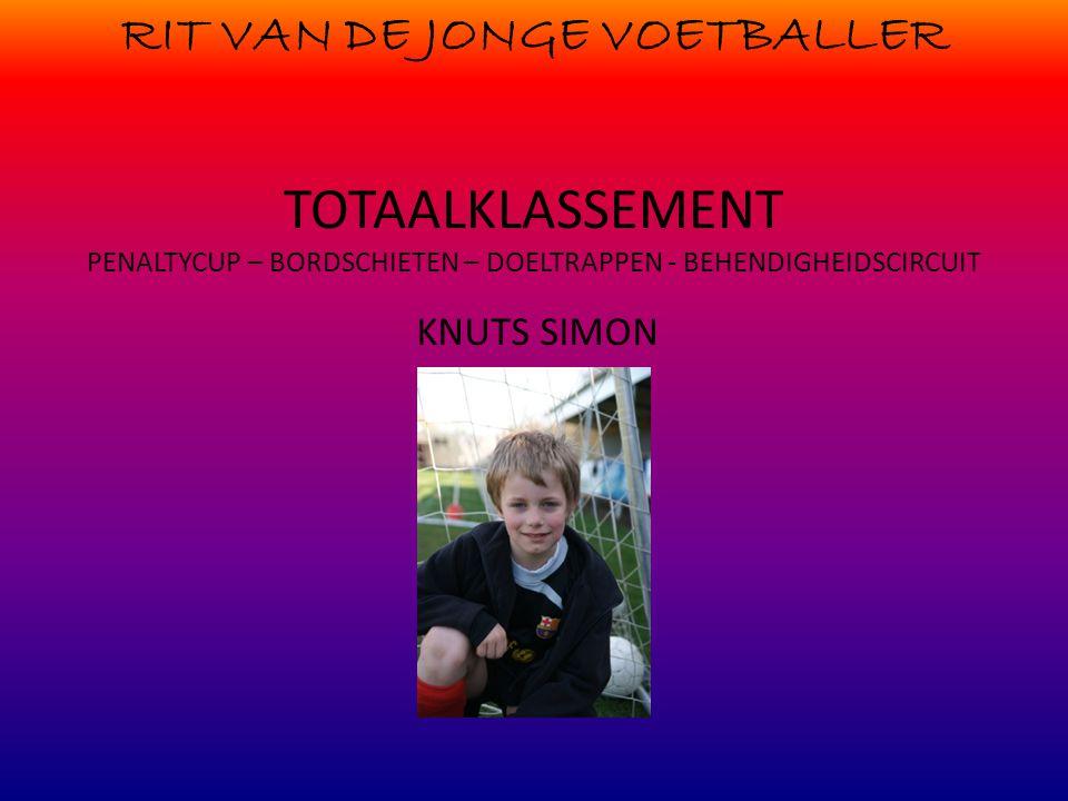 RIT VAN DE JONGE VOETBALLER TOTAALKLASSEMENT PENALTYCUP – BORDSCHIETEN – DOELTRAPPEN - BEHENDIGHEIDSCIRCUIT KNUTS SIMON