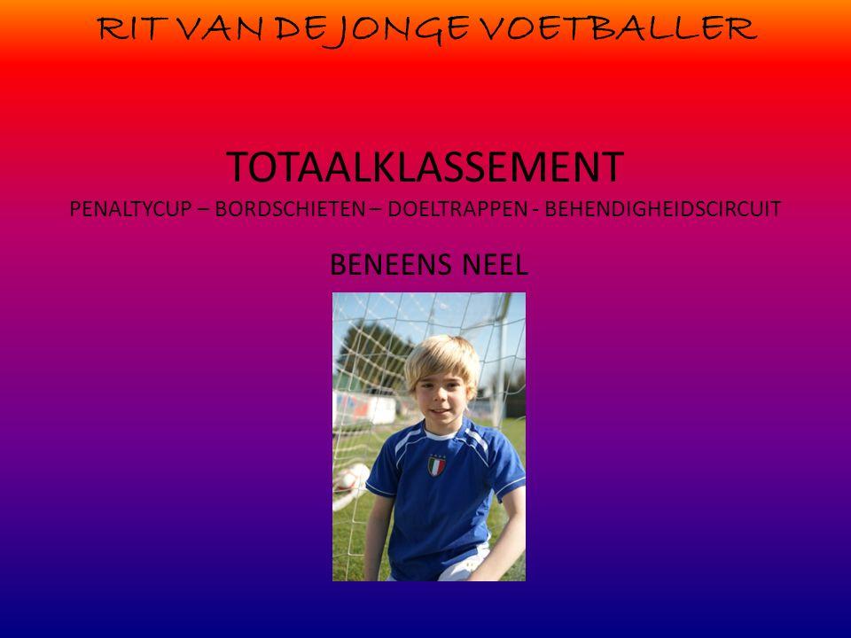 RIT VAN DE JONGE VOETBALLER TOTAALKLASSEMENT PENALTYCUP – BORDSCHIETEN – DOELTRAPPEN - BEHENDIGHEIDSCIRCUIT BENEENS NEEL