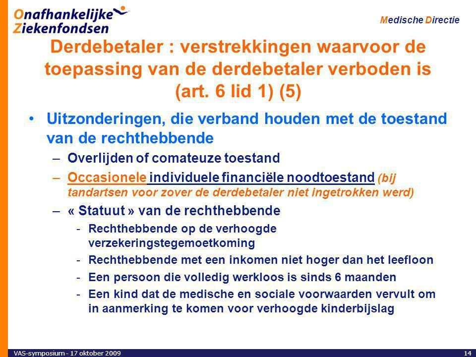 VAS-symposium - 17 oktober 200914 Medische Directie Derdebetaler : verstrekkingen waarvoor de toepassing van de derdebetaler verboden is (art.