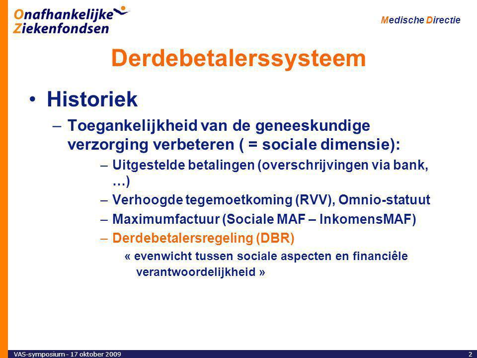 VAS-symposium - 17 oktober 20092 Medische Directie Derdebetalerssysteem Historiek –Toegankelijkheid van de geneeskundige verzorging verbeteren ( = sociale dimensie): –Uitgestelde betalingen (overschrijvingen via bank, …) –Verhoogde tegemoetkoming (RVV), Omnio-statuut –Maximumfactuur (Sociale MAF – InkomensMAF) –Derdebetalersregeling (DBR) « evenwicht tussen sociale aspecten en financiêle verantwoordelijkheid »